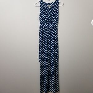 Gilli Modcoth Navy Teal Stripe Tie Back Maxi SZ S